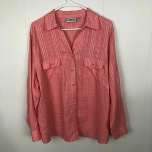 Studio Works Blouse 2X Button Up Linen Pink